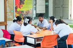 Group meeting of Thai student for presntation. stock image