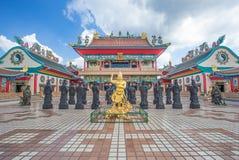 Chonburi, Thailand, 26 Dec 2015: Chinese tempelbeeldhouwwerken en s Stock Afbeeldingen