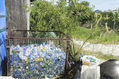 CHONBURI, THAILAND - DECEMBER 2 : plastic bottles waste in Steel Stock Photo