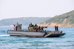 Landing Craft Mechanized or LCM of South Korea carries light tan. CHONBURI, THAILAND - FEBRUARY 17, 2018:  Landing Craft Mechanized or LCM of South Korea carries Stock Photos