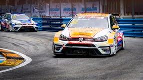 THAILAND-JULY 15, 2018 Volkswagen car racing on racetrack in Bangsaen Grand Prix 2018 near Bangsaen beach in Thailand. CHONBURI, THAILAND-JULY 15, 2018 stock photography