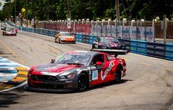 Ford mustang car racing on racetrack in Bangsaen Grand Prix 2018 near Bangsaen beach in Thailand stock photography