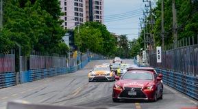 Safety car on racetrack in Bangsaen Grand Prix 2018 near Bangsaen beach in Thailand royalty free stock photo