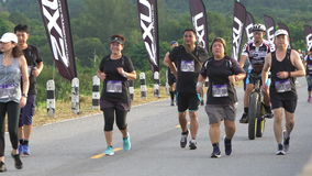 Chonburi , THAILAND - JULY 23, 2017 : Unidentified runners on the street during 2xu compression run Thailand stock video footage