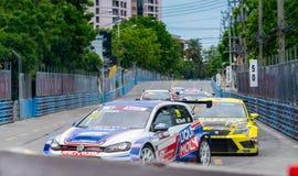 Volkswagen and fiat car racing on racetrack in Bangsaen Grand Prix 2018 near Bangsaen beach in Thailand stock photos