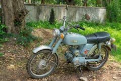 Circa mid 1960 classic and vintage Yamaha motorcycle from Japan. CHONBURI, THAILAND - MARCH 14, 2018 : Circa mid 1960 classic and vintage Yamaha motorcycle from Stock Images