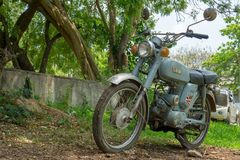 Circa mid 1960 classic and vintage Yamaha motorcycle from Japan. CHONBURI, THAILAND - MARCH 14, 2018 : Circa mid 1960 classic and vintage Yamaha motorcycle from stock photography