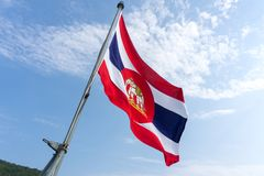 Royal Thai Navy ensign blow on flag pole of the Royal Thai Navy. CHONBURI, THAILAND - MARCH 15, 2018 : Royal Thai Navy ensign blow on flag pole of the Royal Thai Stock Photography