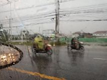 CHONBURI, THAILAND- MARCH 09,2018:Chonburi`s thunderstorm on Mar. Ch 9, 2018, causing heavy slippery roads royalty free stock image