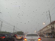 CHONBURI, THAILAND- MARCH 09,2018:Chonburi`s thunderstorm on Mar. Ch 9, 2018, causing heavy slippery roads stock photo