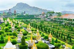 CHONBURI THAILAND - mars 18, 2016: Det tropiska landskapet parkerar in Arkivfoton