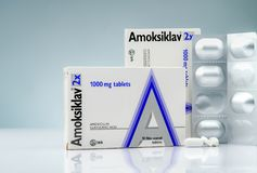 Amoksiklav 2x 1000 mg film coated tablets. Amoxicillin and clavulanic acid. Antibiotics pills on gradient background. White tablet royalty free stock image