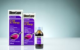 Dimetapp Elixir in amber bottle with measuring cup and packaging isolated on gradient background. Nasal decongestant royalty free stock images