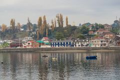 Chonchi harbour in Chiloe island Chile stock photos