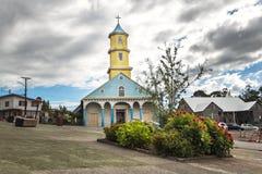 Chonchi kyrka på plazaen de Armas Square - Chonchi, Chiloe ö, Chile arkivfoton