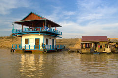 Chong Kneas River Boathouses, Cambodia Stock Images