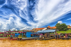 Chong Knies Village, Tonle Sap Lake, the largest freshwater lake in Southeast Asia stock photography