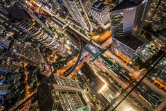 Chong Nonsi. Birds eye view of a modern building at night. Traffic in the business district The Skytrain station Chong Nonsi Stock Photo