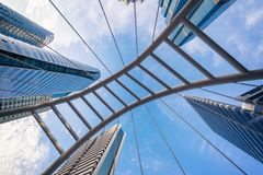 Chong Nonsi Bridge. Architectures in smart city for technology. Background. Skyscraper buildings in Bangkok City with blue sky, Thailand royalty free stock photo