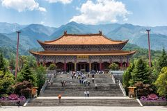 Chong Sheng修道院的Mahavira霍尔在大理市,中国 库存照片