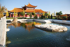 Chong Sheng Buddhist Temple. A free captive pond before the temple house Stock Photo