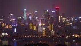 Chongqing CBD at night stock video