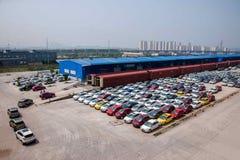 Chongqing Changan Minsheng Logistics Chongqing-Takkoopwaar die op de treinauto worden geladen Royalty-vrije Stock Fotografie