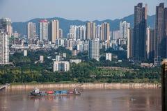 Chongqing Chaotianmen Yangtze River Bridge da entrambi i lati del fiume Chang Jiang Fotografia Stock Libera da Diritti