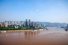 Chongqing Chaotianmen Yangtze River Bridge da entrambi i lati del fiume Chang Jiang Immagine Stock Libera da Diritti
