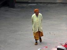 CHONGQING, CHINA – CIRCA SEPTEMBER 2016: A buddhist monk walking in Shengshou temple stock photo