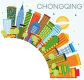 Chongqing China City Skyline avec des bâtiments de couleur, ciel bleu et illustration de vecteur