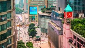 Chongqing, China at Jiefangbei Pedestrian Mall stock video
