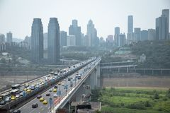 The chongqing changjiang bridge is busy everyday royalty free stock photo