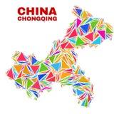 Chongqing City Map - mosaico dei triangoli di colore illustrazione vettoriale