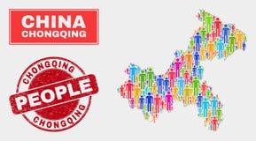 Chongqing City Map Population Demographics e selo do Grunge ilustração stock