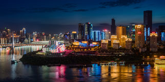 Chongqing City Night Light Arkivbilder