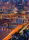 Chongqing City Night Light stock fotografie
