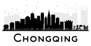 Chongqing City skyline black and white silhouette. Royalty Free Stock Photos