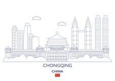 Chongqing City Skyline Kina Royaltyfria Foton