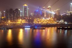 Chongqing city skyline at night Royalty Free Stock Photo