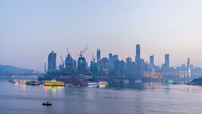 Chongqing city skyline. Time lapse.from day to night stock video footage