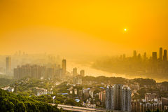 Chongqing City Skyline on the Yangtze Stock Photo