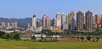 Chongqing Cityscape. The skyscrapers stands by the Jialing river. The landscape in city of Chonqing, westsouth of China royalty free stock photo