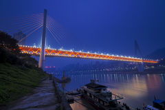 Chongqing double cable bridge. Cross the Yangtze river Royalty Free Stock Photography