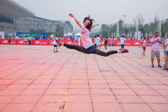 Chongqing Exhibition Center color run in young people Stock Images