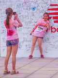 Chongqing Exhibition Center color run in young people Stock Photo