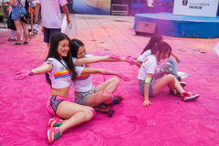 Chongqing Exhibition Center color run in young people Stock Photos