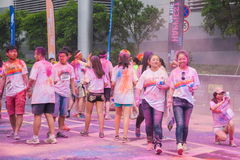 Chongqing Exhibition Center color run in young people Stock Image