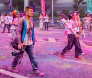 Chongqing Exhibition Center color run in young people Stock Photography