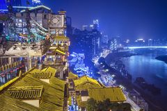 Chongqing in Hongyadong stock afbeelding